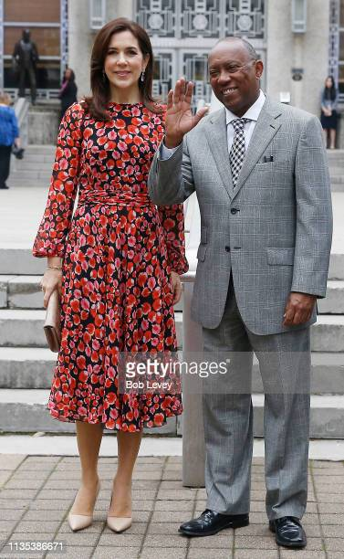 Mary Crown Princess of Denmark and Houston Mayor Sylvester Turner on the steps of city hall as she visits Houston on March 12 2019 in in Houston Texas