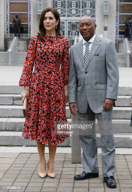 Mary Crown Princess of Denmark and Houston Mayor Sylvester Turner on the steps of city hall as she visits Houston on March 12 2019 in Houston Texas