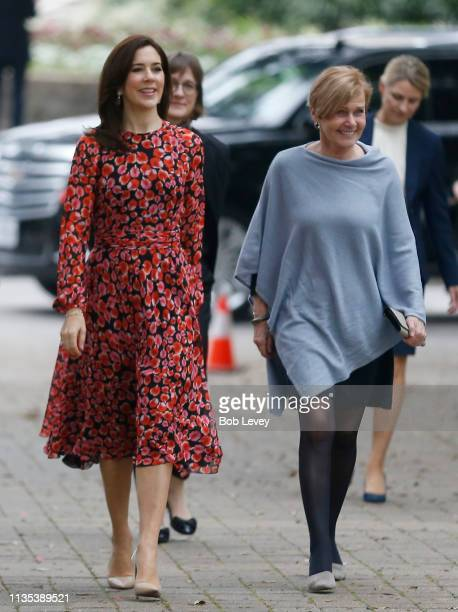 Mary Crown Princess of Denmark and Minister of Culture Mette Bock arrive at Houston City Hall to meet Mayor Sylvester Turner on March 12 2019 in...
