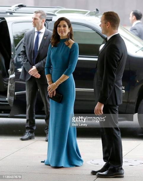 Mary Crown Princess of Denmark arrives for a Gala Dinner at the Museum of Fine Arts on March 12 2019 in Houston Texas