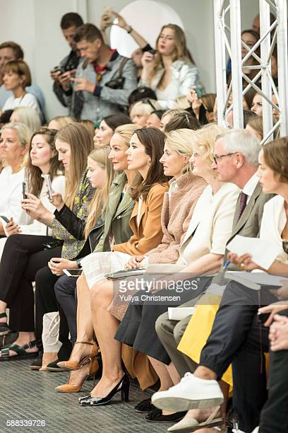 Mary Crown Princess of Denmark attends the Fonnesbech show the Copenhagen Fashion Week Spring/Summer 2017 on August 10 2016 in Copenhagen Denmark