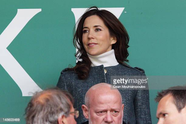 Mary Crown Princess of Denmark gets ready to watch the International Friendly between Denmark and Australia at Parken Stadium on June 2 2012 in...