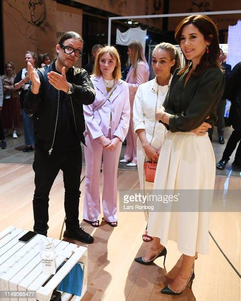 Mary Crown Princess of Denmark goes on a tour of the Innovation Forum Day Two of the Copenhagen Fashion Summit 2019 at DR Koncerthuset on May 16 2019...