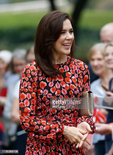 Mary Crown Princess of Denmark greets supporters at Houston City Hall as she meets Mayor Sylvester Turner on a visit on March 12 2019 in HoustonTexas