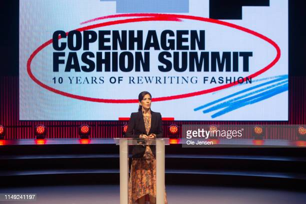 Mary, Crown Princess of Denmark speaks on stage to give the Welcome Address on Day One of the Copenhagen Fashion Summit 2019 at DR Koncerthuset on...