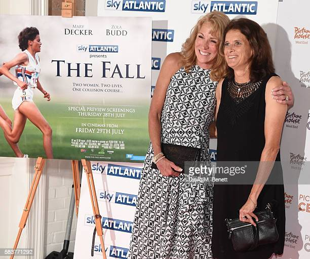 Mary Decker and Zola Budd attend the premiere of the Sky Atlantic original documentary feature 'The Fall' at Picturehouse Central on July 27 2016 in...