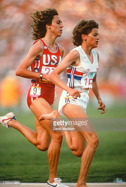 Mary Decker and Zola Budd run the 3000 meter final of the 1984 Olympics held in the Los Angeles Memorial Coliseum in Los Angeles California on August...