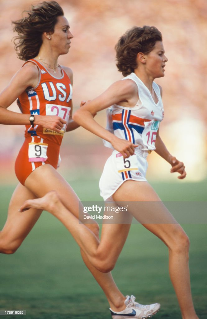 Mary Decker #373(USA) and Zola Budd #151 (GBR) run the Women's 3000 meter final of the 1984 Olympics held in the Los Angeles Memorial Coliseum in Los Angeles, California on August 10, 1984.