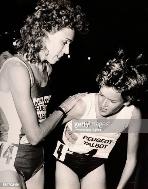 Mary Decker of the United States and Zola Budd of Great Britain in their first meeting since the Olympic Games in Los Angeles in 1984 following the...