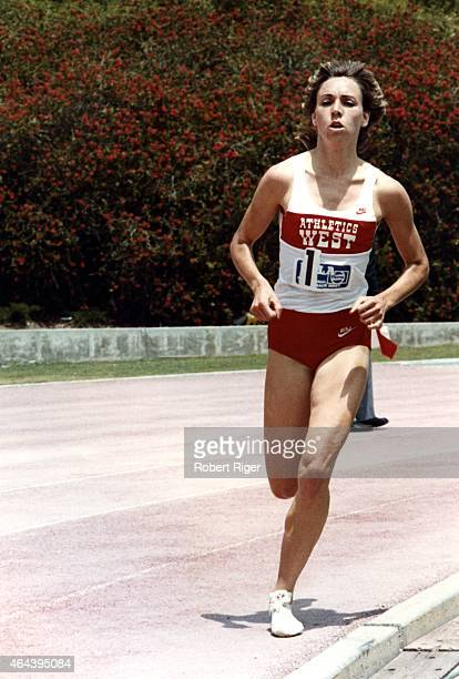 Mary Decker runs on the track during the UCLAPepsi track and field meet on May 15 1983 in Los Angeles California