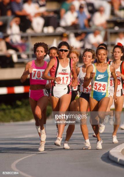 Mary Decker Slaney PattiSue Plumer and Alisa Harvey all of the USA compete in a 1500 meter race during the 1990 USA Outdoor Track and Field...