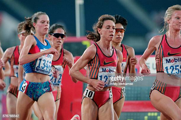 Mary Decker Slaney runs in the center of the pack of runners competing in the 10000 meter run a race in which Slaney took second place Amy Rudolph...