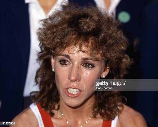 Mary DeckerSlaney of the USA middledistance runner being interviewed in London England circa 1986
