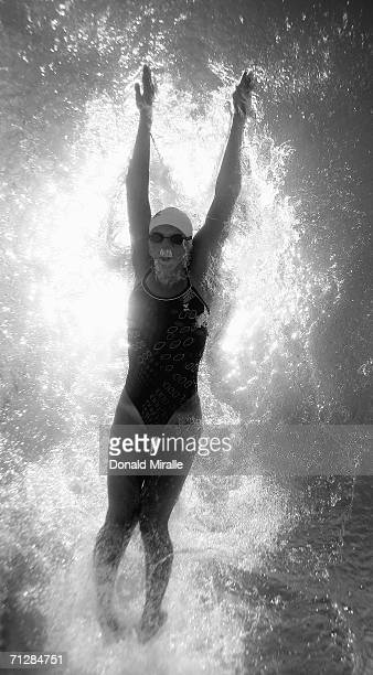 Mary DeScenza of the USA swims in the Women's 100M Butterfly Preliminary Heats during the Santa Clara XXXIX International Swim Meet part of the 2006...