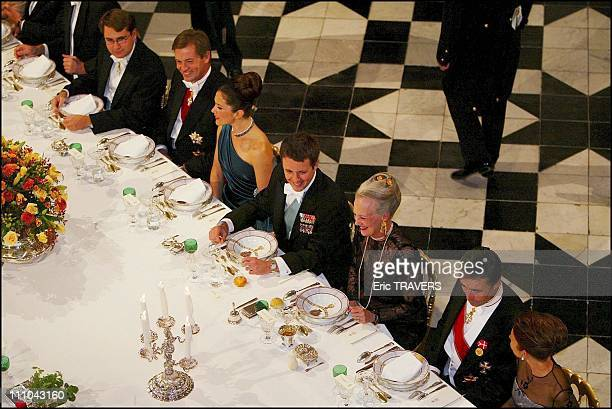 Mary Donaldson Crown Prince Frederik Hrh Queen Margrethe Of Denmark Princess Alexandra Bal Room in Fredensborg Denmark on October 08 2003