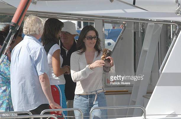 Mary Donaldson the Australian girlfriend of Frederik Prince of Denmark's returns to the Hobart Yacht Club's docks after watching the first race of...