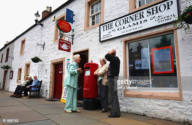 Mary Dowager Countess of Strathmore protests with villagers over the proposed closure of Glamis Post Office June 6 2008 in Glamis near Dundee...