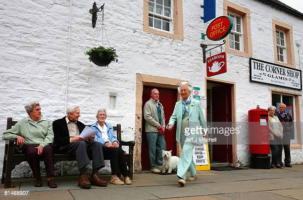 Mary Dowager Countess of Strathmore protests with villagers over the proposed closure of Glamis Post Office June 6 2008 in Glamis Scotland The Post...