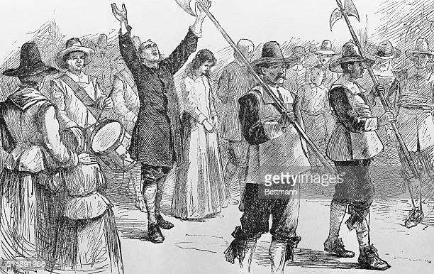Mary Dyer William Robinson and Marmaduke Stevenson are led to their execution 1659 Robinson and Stevenson were hung but Dyer was given a stay seven...