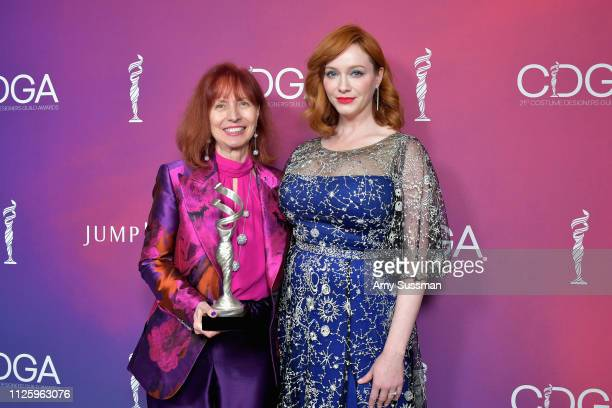 Mary E Vogt winner of the Excellence in Contemporary Film award for 'Crazy Rich Asians' and Christina Hendricks attend The 21st CDGA at The Beverly...