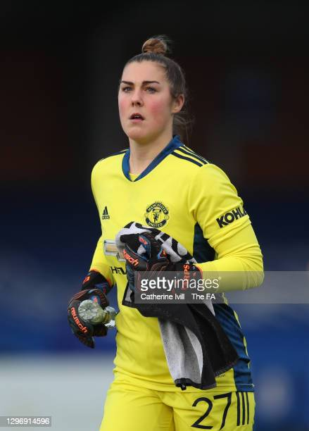 Mary Earps of Manchester United during the Barclays FA Women's Super League match between Chelsea Women and Manchester United Women at Kingsmeadow on...