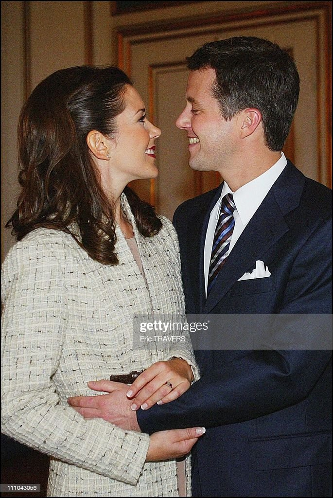 Announcement Of The Engagement Of Denmark's Future King, Crown Prince Frederik And Mary Elizabeth Donaldson At The Christian Ix Palace, Amalienborg Castle In Fredensborg, Denmark On October 08, 2003 : News Photo