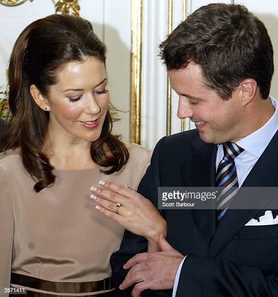 Mary Elizabeth Donaldson and His Royal Highness Crown Prince Frederik of Denmark show their engagement ring to the media during a press conference at...