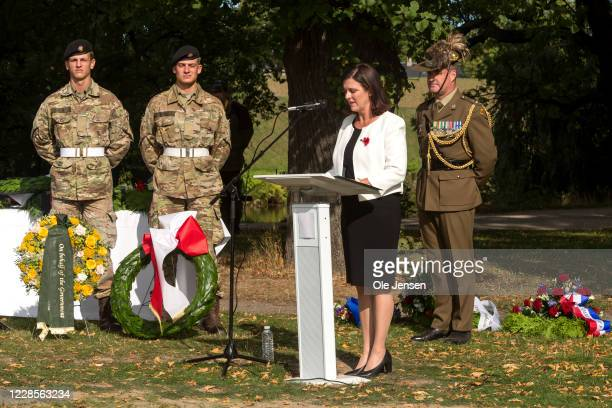 Mary Ellen Miller Australian Ambassador to Denmark speaks at the official inauguration of the Australian War Monument at the Churchill Memorial Park...