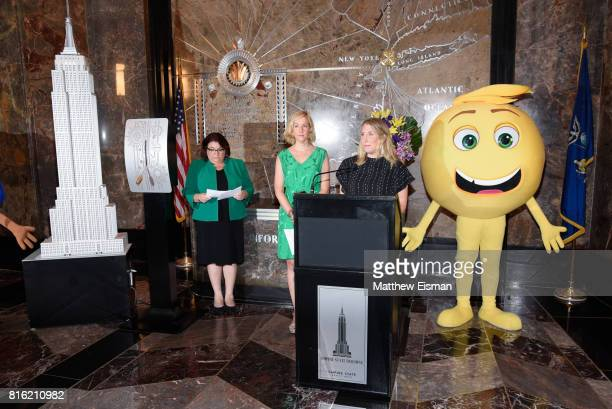 Mary Ellen Miller Vice President of Development Girls Who Code and Sara Link President of Oath Foundation celebrate World Emoji Day at The Empire...