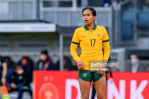 Mary Fowler of Australia looks on during the Women's International Friendly match between Germany and Australia at BRITA-Arena on April 10, 2021 in...