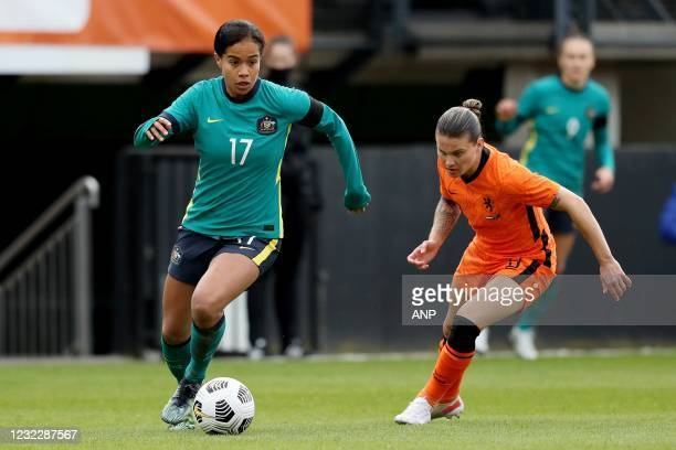 Mary Fowler of Australia, Sherida Spitse of Holland during the international women's friendly match between the Netherlands and Australia at the...