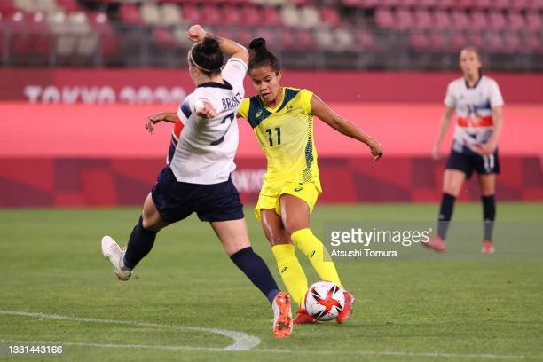 Mary Fowler of Team Australia scores their side's third goal during the Women's Quarter Final match between Great Britain and Australia on day seven...