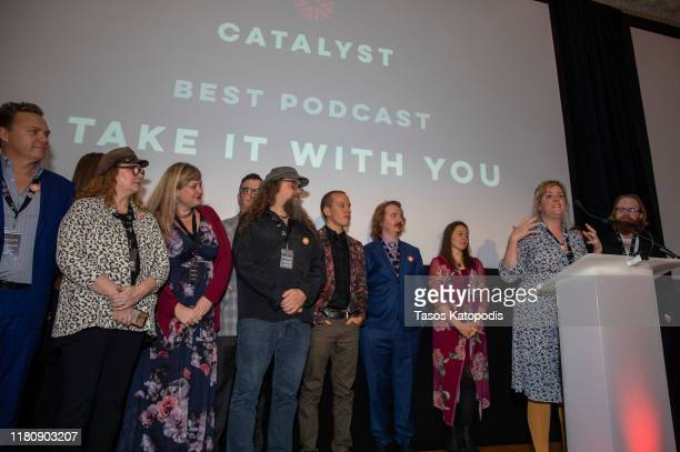 "Mary Gaines speaks as ""Take it With You"" wins Best Podcast at the Catalyst Content Awards Gala on October 13 2019 in Duluth Minnesota"