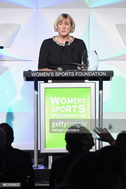 Mary Gen Ledecky accepts the Individual Sportswoman of the YearAward for daughter Katie Ledecky during The Women's Sports Foundation's 38th Annual...