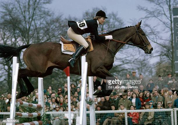 Mary GordonWatson of Great Britain riding Cornishman during the Show Jumping section of the Badminton Horse Trials at Badminton Park in...