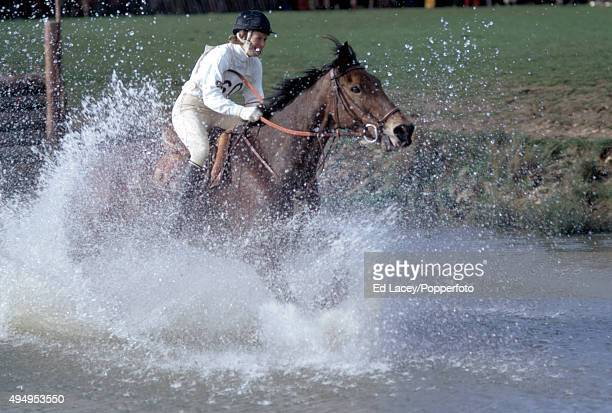 Mary GordonWatson of Great Britain riding Cornishman V through a water hazard at Badminton Horse Trials in Gloucestershire on 15th April 1972
