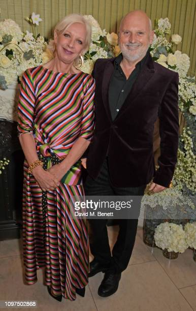Mary Greenwell and Sam McKnight attend the British Vogue and Tiffany Co Celebrate Fashion and Film Party at Annabel's on February 10 2019 in London...