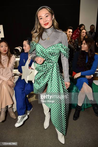 Mary Gui attends the front row for Tadashi Shoji during New York Fashion Week The Shows at Gallery II at Spring Studios on February 06 2020 in New...
