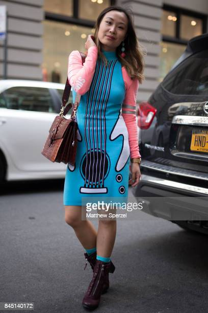 Mary Gui is seen attending Banana Republic x Olivia Palermo during New York Fashion Week wearing Jeremy Scott on September 9 2017 in New York City