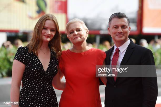Mary Harron walks the red carpet ahead of the 'My Brilliant Friend ' screening during the 75th Venice Film Festival at Sala Grande on September 2...