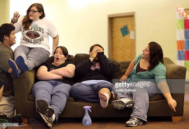 Mary Healy Makayla Smith Marissa Hamilton and Elizabeth Fedorchalk react as a classmate surprises them as they sit in the girls dorm at Wellspring...