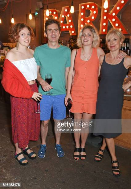 Mary Higgins Paul Higgins Flora Higgins and Amelia Bullmore attend the press night party for 'Twilight Song' at The Park Theatre on July 17 2017 in...