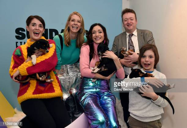 Mary Holland Dawn Luebbe Jocelyn DeBoer Neil Casey and Asher Miles Fallica attend the Lyft X Greener Grass Happy Hour at the Lyft Lounge during the...