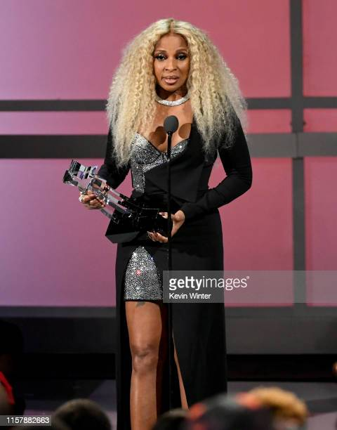 Mary J Blige accepts the Lifetime Achievement Award onstage at the 2019 BET Awards on June 23 2019 in Los Angeles California