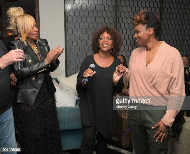 Mary J Blige Alfre Woodard and Dee Rees attend special screening of MUDBOUND hosted by Alfre Woodard on January 4 2018 in West Hollywood California