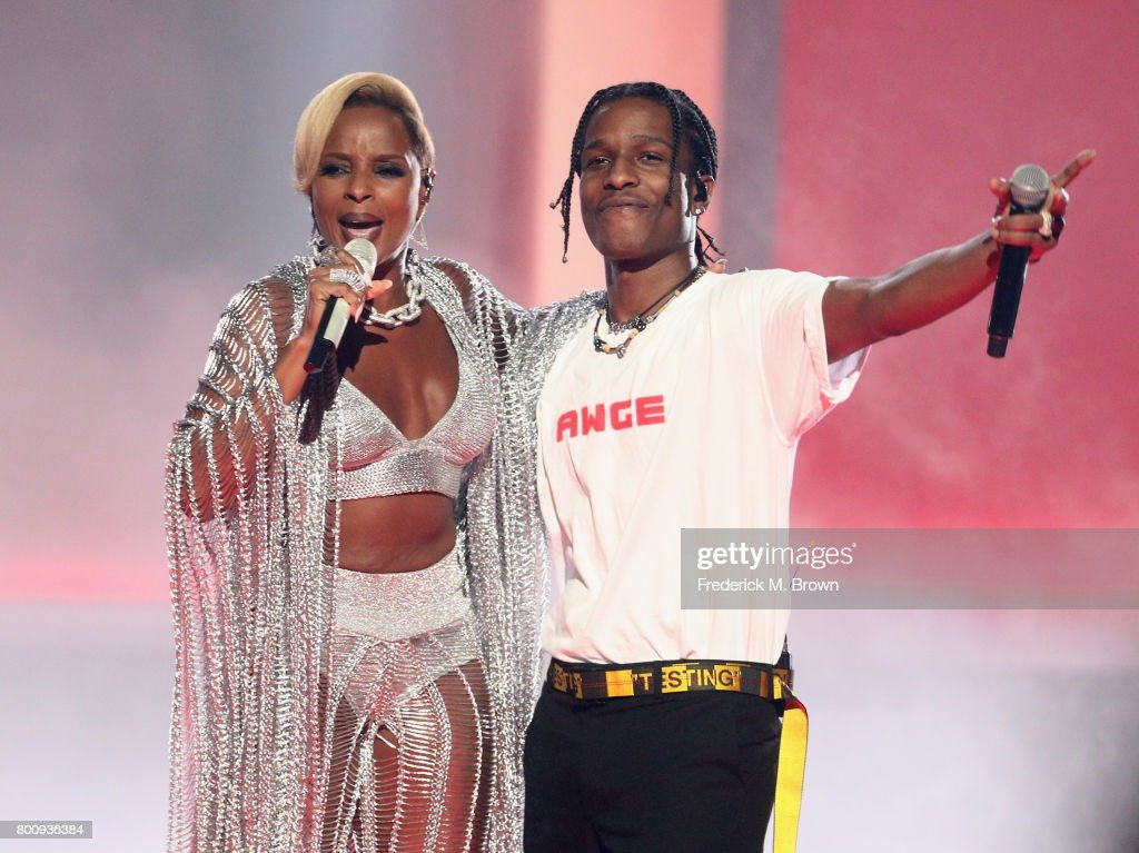 Mary J. Blige (L) and ASAP Rocky perform onstage at 2017 BET Awards at Microsoft Theater on June 25, 2017 in Los Angeles, California.