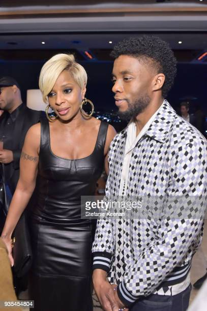 Mary J Blige and Chadwick Boseman attend The Hollywood Reporter and Jimmy Choo Power Stylists Dinner on March 20 2018 in Los Angeles California