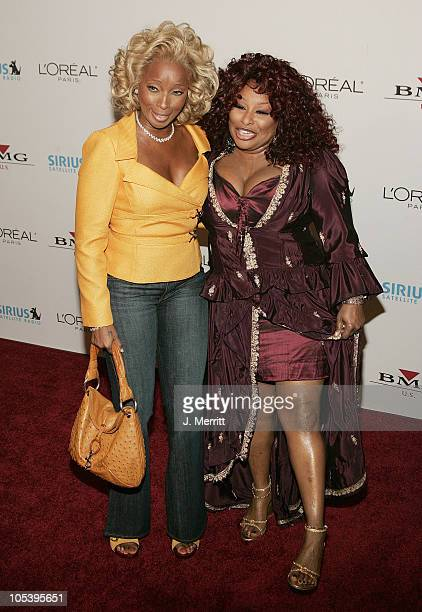Mary J Blige and Chaka Khan during Clive Davis 2005 PreGRAMMY Awards Party Arrivals at The Beverly Hills Hotel in Beverly Hills California United...