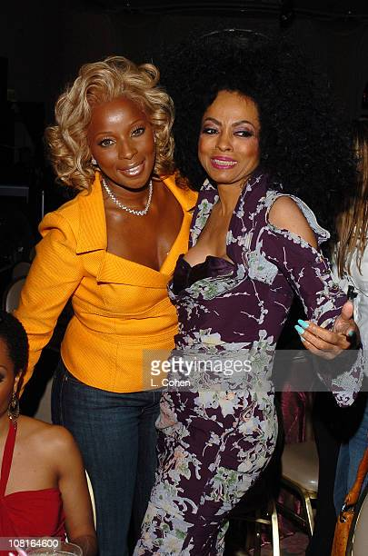 Mary J Blige and Diana Ross during Clive Davis' 2005 PreGRAMMY Awards Party Dinner and Show at Beverly Hills Hotel in Beverly Hills California United...