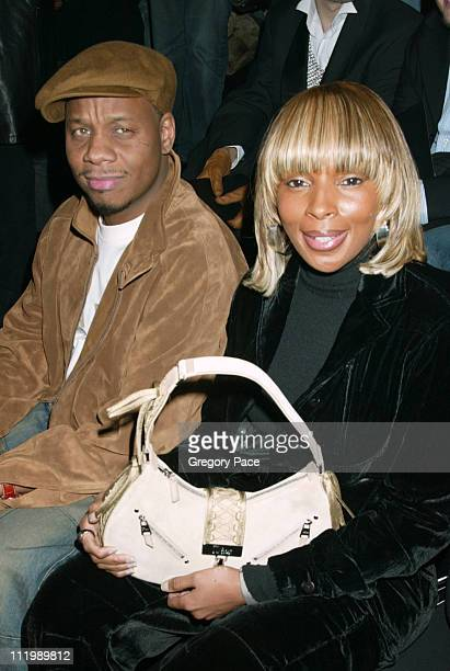 Mary J Blige and fiance Martin Isaacs during Sean John Fall 2003 Fashion Show at Ciprianis in New York NY United States